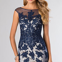 Short Lace Cap Sleeve Cocktail Dress by Dave and Johnny