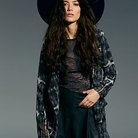 Free People Womens Sheer Tie Dye Soft Jacket - Smoke