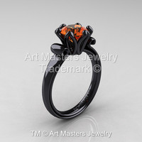 Modern Antique 14K Black Gold 1.5 Carat Orange Sapphire Solitaire Engagement Ring AR127-14KBGOS