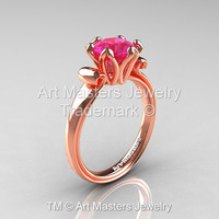 Modern Antique 14K Rose Gold 1.5 Carat Pink Sapphire Solitaire Engagement Ring AR127-14KRGPS