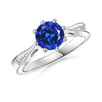 Lab Created Blue Sapphire Tapered Shank Ring with Simulated Diamond in 10K White Gold (7 mm)