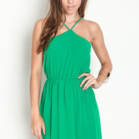 LUCKY GREEN CHIFFON STRAPPY DRESS