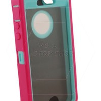 Vs 1 Stop Shop ®TM Apple Iphone 5/5s (Not for 5C) Protector - Generic for Otterbox Defender Series (Cotton Candy ( Blaze Pink / Aqua ))