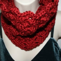 Womens Crochet Red Cowl Winter Infinity Scarf Autumn by lanacooper