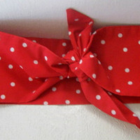 Bandana Head Band, Gypsy Headband, Hair Accessory, Hair Bow, Hair Bandana,  Rockabilly, Red n White Polka Dots, Head Wrap, Boho, Hippie