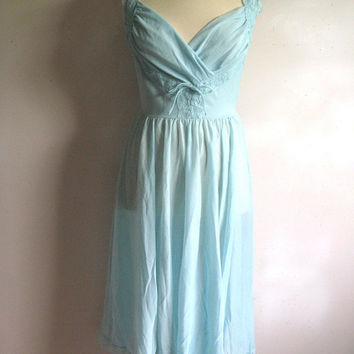Vintage 1970s Night Gown Turquoise Lace Nightie Medium