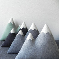 the Peaks -- wool mountain plush pillow