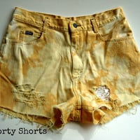 SALE High Waisted Lace Shorts Dip Dyed Orange and by shortyshorts