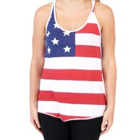 Juniors United States of America Patriot USA American Flag T-Shirt Tee Tank Top