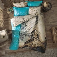 100% Cotton 4pcs Paris in Autumn Double Size Duvet Cover Set Eiffel Theme Bedding Linens