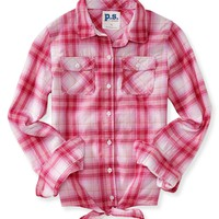 Kids' Long Sleeve Tie Front Woven Shirt - PS From Aeropostale