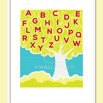 8x10 Nursery Art Prints Alphabet Tree Wall Print Baby Wall Art Typography Children ABC Wall Art Baby Gift Kids Decor by Wallpamper ABC Tree