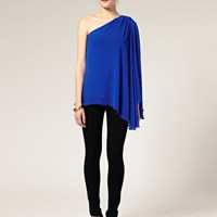 ASOS | ASOS One Sleeve Draped Chiffon Kimono Top at ASOS