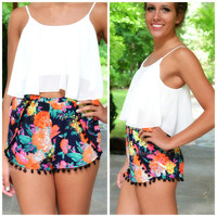 Paradise Island Orange Floral Pom Pom Shorts