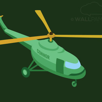 Helicopter Art Print w Personalized Name, Transportartion, Baby Boy Wall Art Gift, Kids Decor, Helicopter w Name Illustration, Boys Nursery