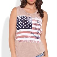 Mineral wash tunic tank with American flag anchor screen