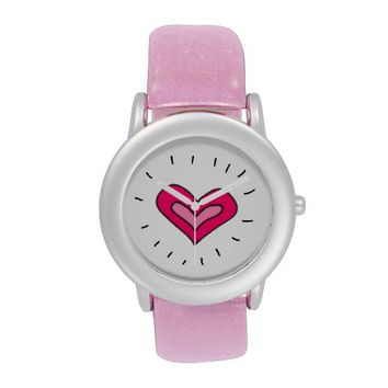Pink Heart Wrist Watch