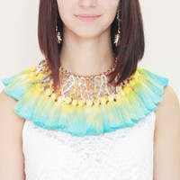DRAGON FLY / Woven leather & Dyed ombre tassel tribal statement necklace - Ready to Ship