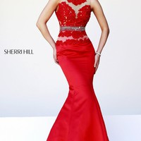 Beaded V-Back Mermaid Gown by Sherri Hill