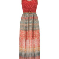 lace top printed chiffon maxi dress with belt