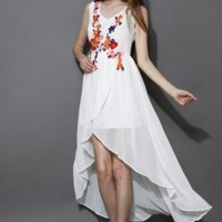 White floral print asymmetric dress