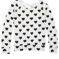 Allover Hearts Flashdance Sweatshirt - White