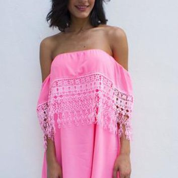 Crochet Trim Dress - Neon Pink