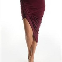 Twisted Unbalanced Skirt - Plum