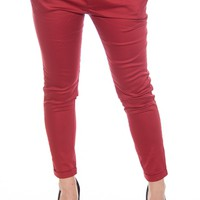 Step Out in Style Belted Twill Capri Pants - Burgundy