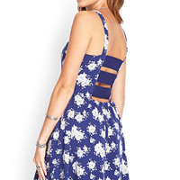 Cutout-Back Rose Print Dress