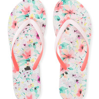 Live Love Dream Womens LLD Fresh Floral Flip-Flops - Bleach,