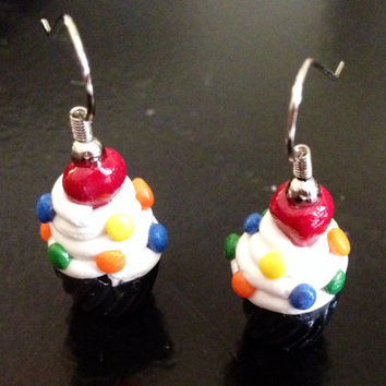 Confetti Cupcake Earrings made with Sculpey clay