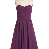 ModCloth Mid-length Strapless Fit & Flare Luminous and Lovely Dress in Plum
