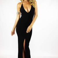 Deep V Open Back Maxi in Black