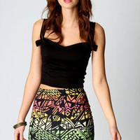 Ella Multicolour Aztec Print Bodycon Skirt at boohoo.com
