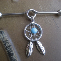 Industrial Piercing Barbell Dream Catcher Charm Dangle Turquoise Beaded Dreamcatcher 14 Gauge Bar