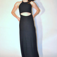 handmade black jersey open back cut out halter cocktail dress/ small medium