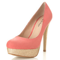 Sassy Coral Glitter Heel - View All - Shoes - Miss Selfridge