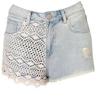 MOTO Bleach Crochet Hotpants - Denim Shorts - Shorts  - Clothing - Topshop