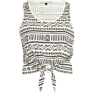 cream aztec print tie front crop tank - crop tops - t shirts / vests / sweats - women - River Island