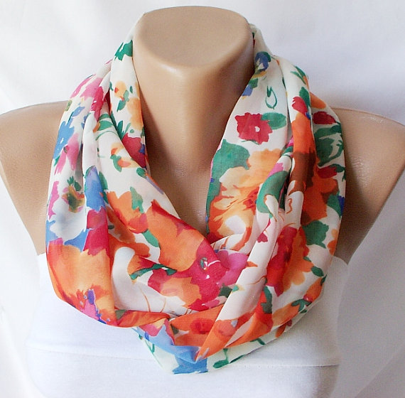 Colorful and flowerInfinity Loop Scarf Chiffon by Periay on Etsy