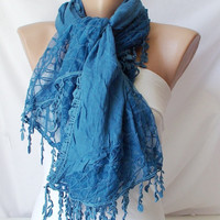 Blue Color Wrapping Shawl from 100 coton with lace by Periay