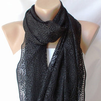 Tulle Black Shawl wrap scarf by Periay on Etsy