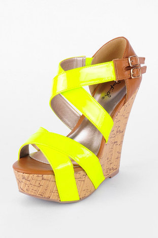 Finder Cork Platform Sandals in Neon Yellow :: tobi