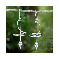 Sterling Silver 'Pirouette' Drop Earrings (Thailand)