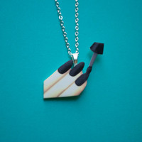Black Nails Manicure Necklace