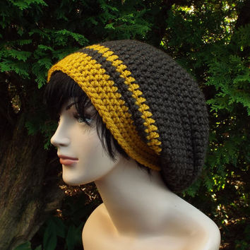 Coffee Brown Slouch Beanie - Mens Crochet Hat with Mustard Yellow - Oversized Slouchy Beanie - Chunky Hat - Baggy Beanie - Slouchy Hat