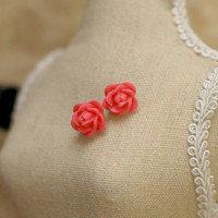 Simple Pink Rose Earrings  Coral Pink Rose Stud by reverietrinkets
