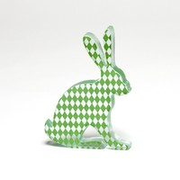Green Harlequin Hare Glass Sculpture | Luulla