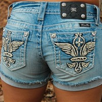 Miss Me Rhinestone Wing Denim Shorts